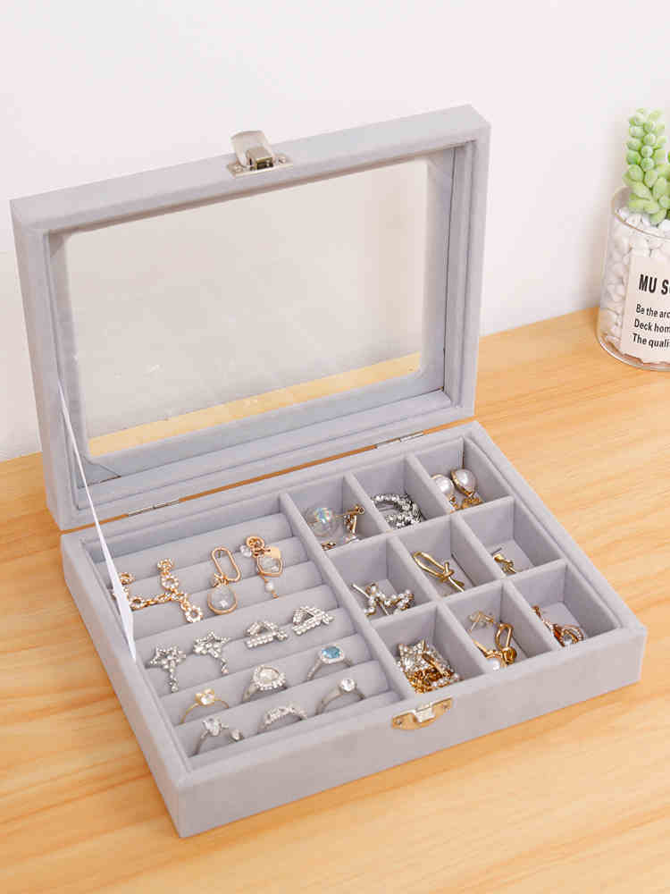 Gray Jewelry Box Organizer Case and Earring Box Holder Glass Lid Retro Buckle (1)