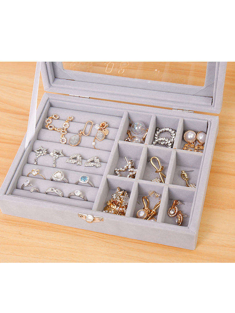 Jewelry Box Organizer and Earring Box Holder Glass Lid Retro Buckle