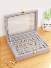 Load image into Gallery viewer, Gray Jewelry Box Organizer Case for earrings