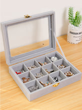Load image into Gallery viewer, Jewelry Box Organizer and Earring Box Holder Glass Lid Retro Buckle