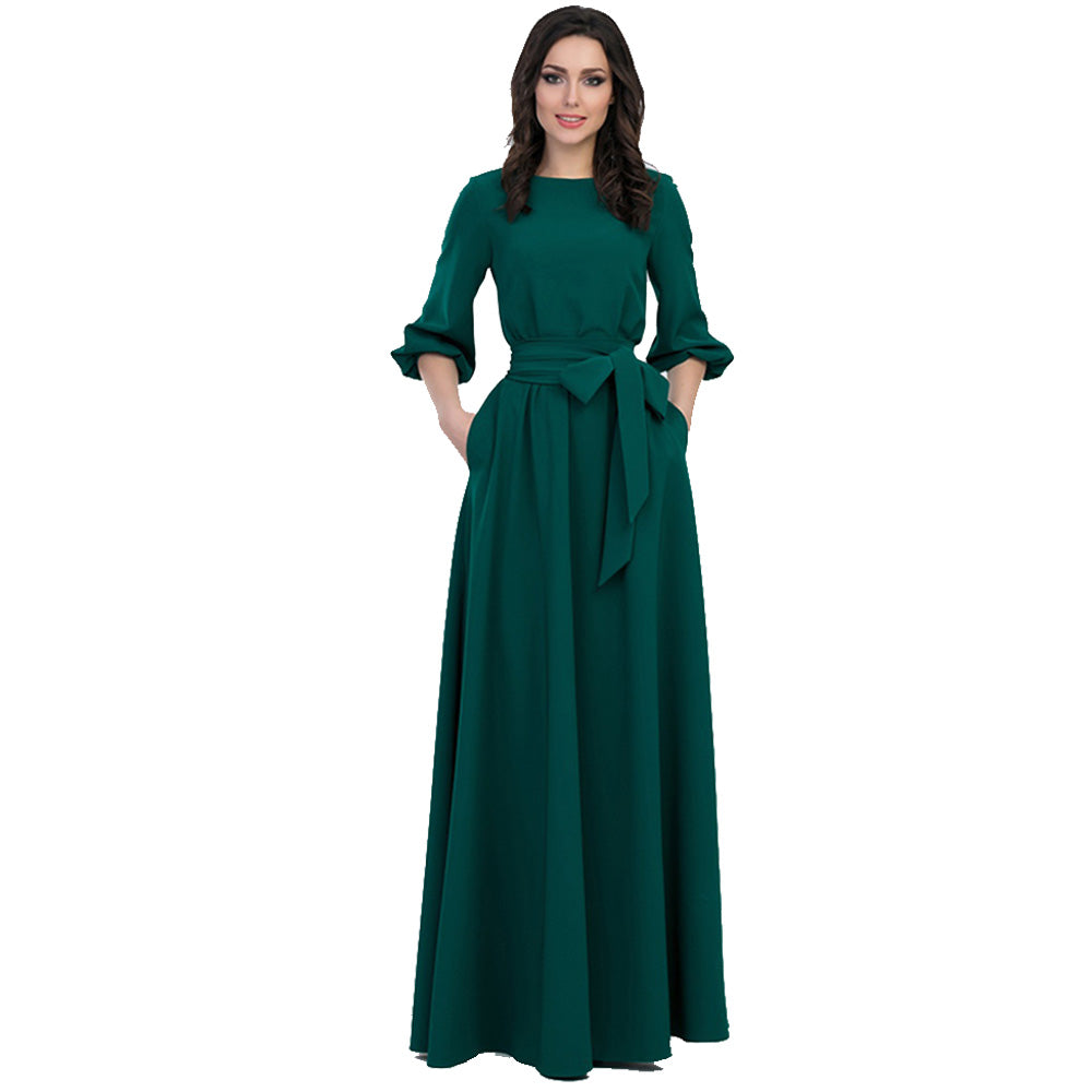 Green Color Long Dress with Sashes Bohemian