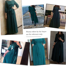Load image into Gallery viewer, Green Color Long Dress with Sashes Bohemian Style