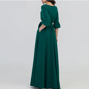 Green Color Long Dress with Sashes Bohemian Style