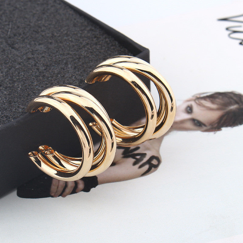 Hoop Statement Earring Round for Woman Vintage Silver Gold Color