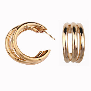 gold Hoop Earring Woman Vintage Gold Color Statement Earrings Accessories E10