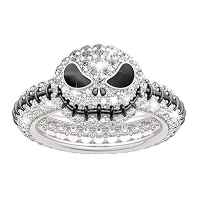 Jack Skellington Rings Skull Smiling Face Rings 925 Sterling Silver Halloween Jewelry