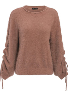 Women O-neck soft mohair pullover sweater tops Casual streetwear jumpers