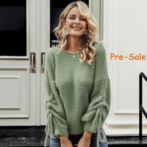 green mohair soft pullover sweater for women