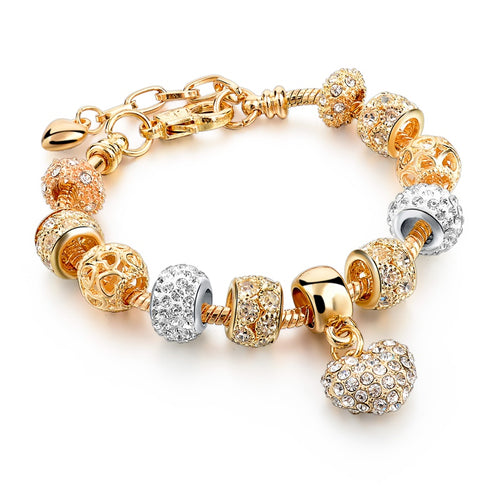 Charm Gold Color Bracelets Luxury Crystal Heart