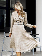 Load image into Gallery viewer, women midi dress pleated belt plaid champagne khaki A line V-neck for women autumn winter