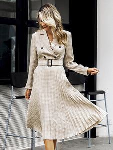 women midi dress pleated belt plaid champagne khaki A line V-neck for women autumn winter