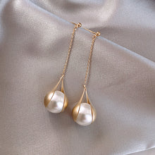 Load image into Gallery viewer, Pearl Drop Earrings Elegant Gold Plated 925 Sterling Silver Pierced