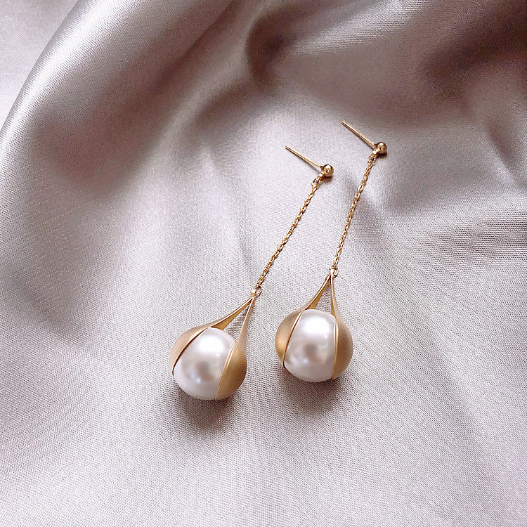 Pearl Drop Earrings Elegant Gold Plated 925 Sterling Silver Pierced