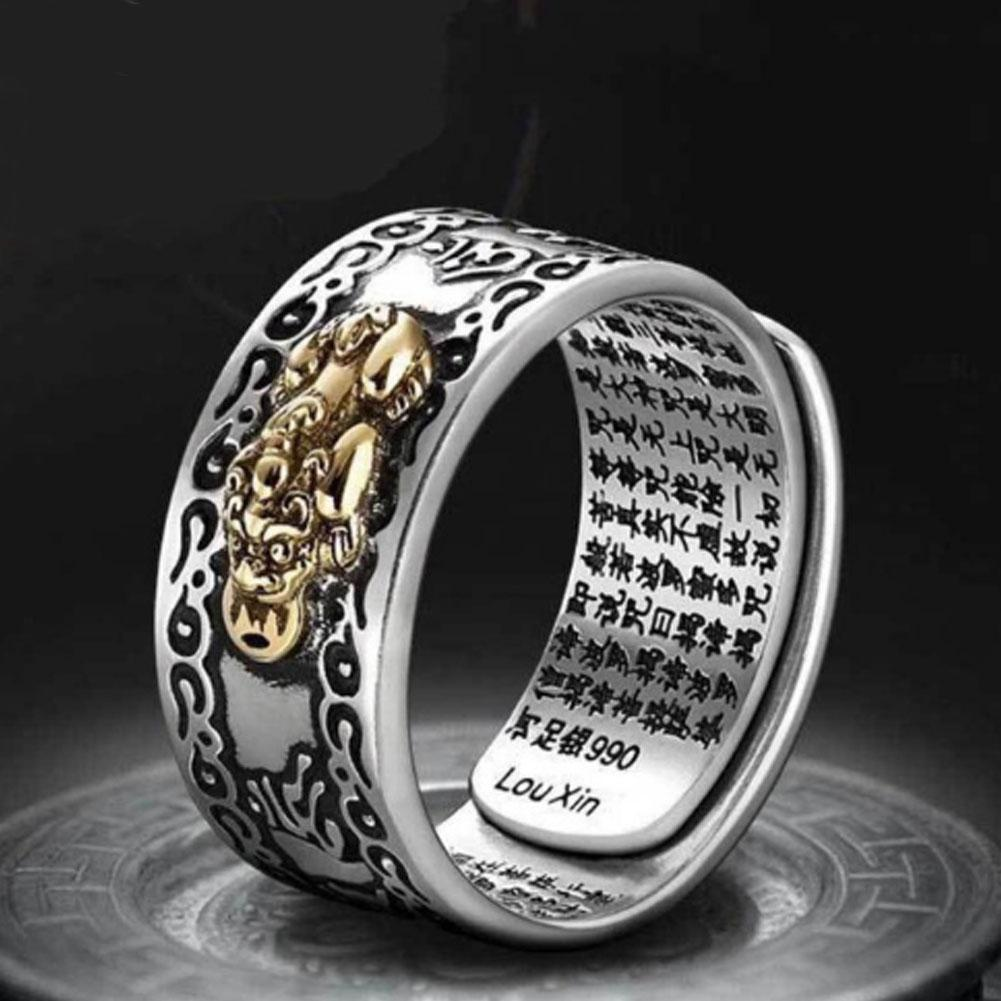 Pixiu Feng Shui Buddhist Rings Amulet Wealth Lucky Open Adjustable