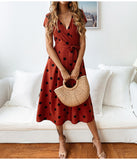 red Polka Dots Midi Dress