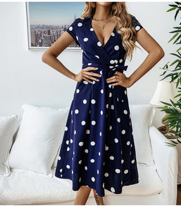 blue Polka Dots Midi Dress