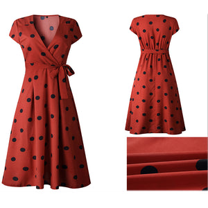 Polka Dots Midi Dress Vintage Casual V-neck Short Sleeve