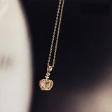 Rose Gold Crystal Princess Necklace Crown Pendent