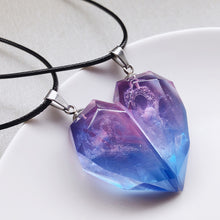 Load image into Gallery viewer, Aurora Colorful Resin Heart Pendant Necklace Purple
