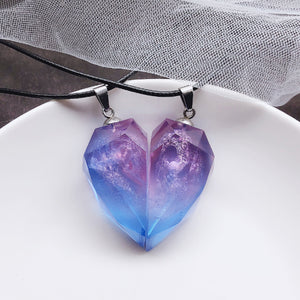 Aurora Colorful Resin Heart Pendant Necklace Adjustable for Couples Love Friendship 2 Pieces