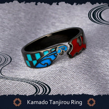 Load image into Gallery viewer, Anime Inspired Rings of Demon Slayer: Kimetsu no Yaiba Kamado Tanjirou 925 Silver Adjustable