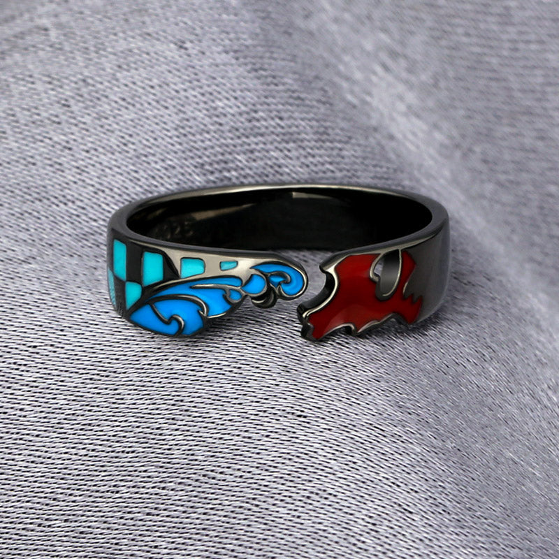 Anime Inspired Rings of Demon Slayer: Kimetsu no Yaiba Kamado Tanjirou 925 Silver Adjustable