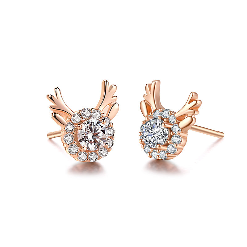 Rose-Gold-silver-Small-Deer-Antler-Earrings-Studs-Animal-Simple-2019