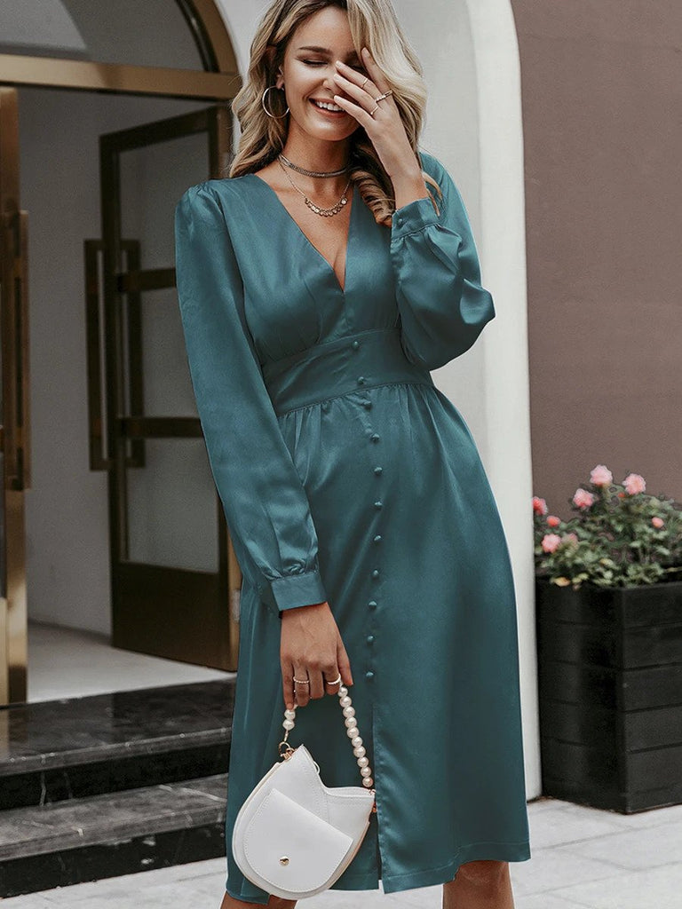 Silk Midi Dress Vintage V Neck A-Line