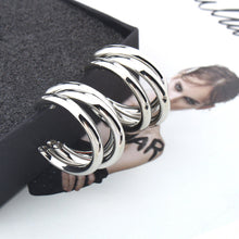 Load image into Gallery viewer, Silver Hoop Earring Woman Vintage Gold Color Statement Earrings