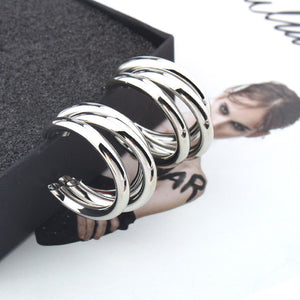 Silver Hoop Earring Woman Vintage Gold Color Statement Earrings