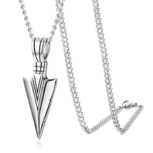 Load image into Gallery viewer, Silver Spearpoint Arrowhead Pendant Chain Necklace