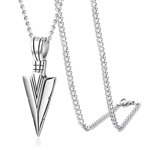 Silver Spearpoint Arrowhead Pendant Chain Necklace
