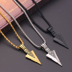 Stainless Steel Spearpoint Arrowhead Pendant Chain Necklace