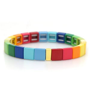 rainbow tile enamel  bracelet for women