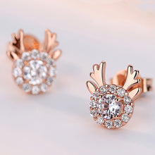 Load image into Gallery viewer, Deer Antler Earrings Studs Rose Gold Crystal Hypoallergenic 925 Sterling Silver