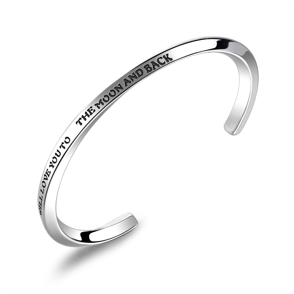 Titanium Steel Couple Open Bangle Engraved Cuff bracelet