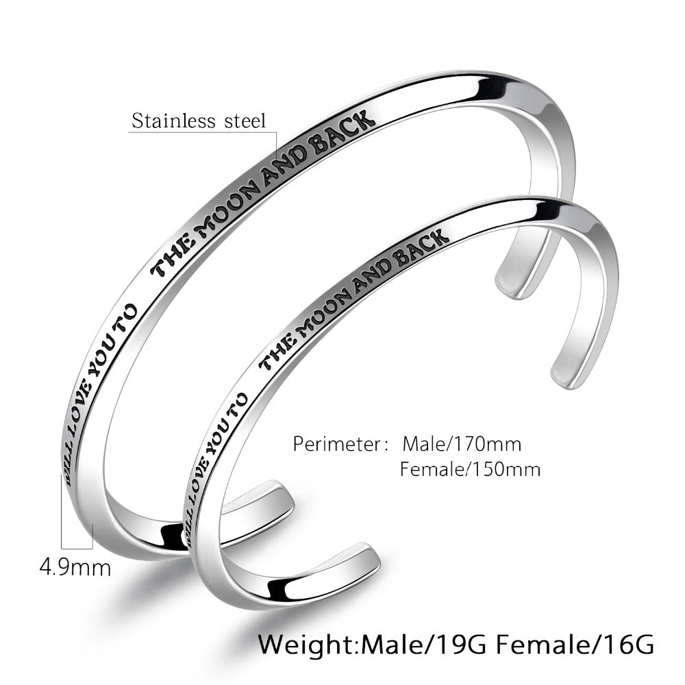 Titanium Steel Couple Open Bangle Engraved