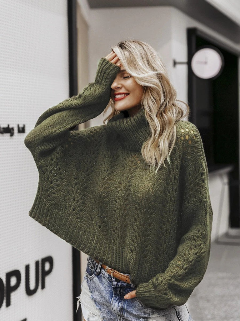 Turtleneck knitted sweater hollow women drop-shoulder long sleeve darkgreen