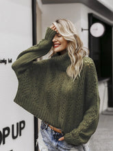 Load image into Gallery viewer, Turtleneck knitted sweater hollow women drop-shoulder long sleeve darkgreen
