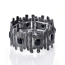 Load image into Gallery viewer, Wide Vintage Wrap Bracelets Adjustable Strand black Rhinestone Retro