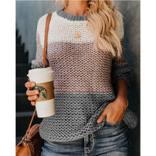 Load image into Gallery viewer, Women Oversize Sweater Fluffy Mohair Long Sleeve Patchwork Color Striped