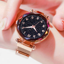 Load image into Gallery viewer, Women Watches Luxury rose gold Starry Sky nightlight