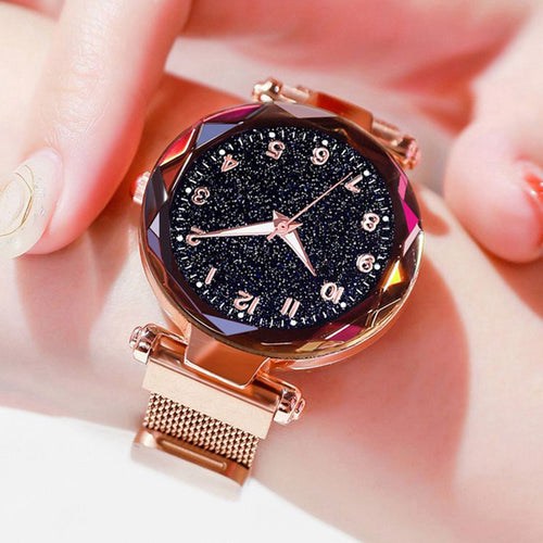 Women Watches Luxury rose gold Starry Sky nightlight