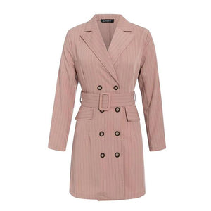Women notched collar pink blazer dress belted