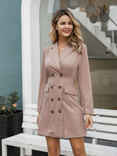 Load image into Gallery viewer, Women blazer dress pink double breasted outfits midi belted