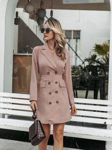 Women blazer dress pink double breasted outfits midi belted
