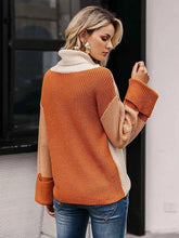 Load image into Gallery viewer, Women pullover sweater patchwork turtleneck long sleeve orange