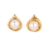Wrapped 18K Gold Pearl Earrings