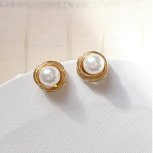 Load image into Gallery viewer, Wrapped 18K Gold Pearl Earrings