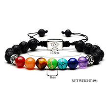 Load image into Gallery viewer, 7 Chakras Bracelet Bangle Natural Stone Yoga Beads